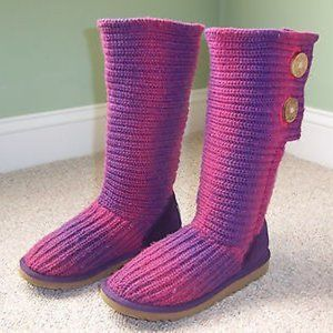 UGG Pink Purple Cardy 5934 Shearling Sweater Boots